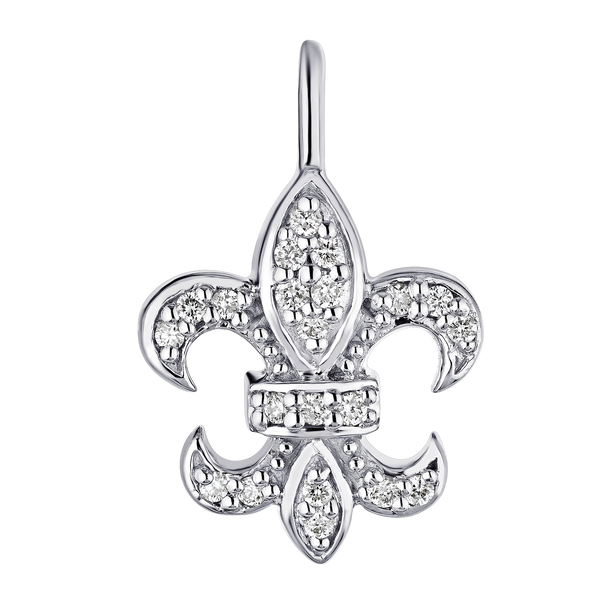 "White Gold Diamond ""Fleur De Lis"" Earrings"