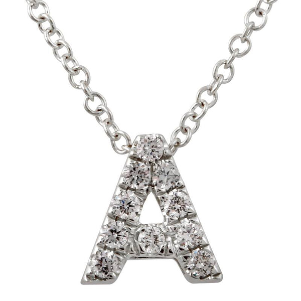 "White Gold Small Block ""A"" Initial Necklace"