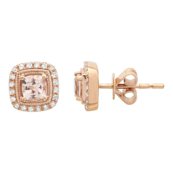 Rose Gold Morganite & Diamond Earrings