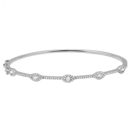 White Gold Diamond Fashion Bangle Bracelet