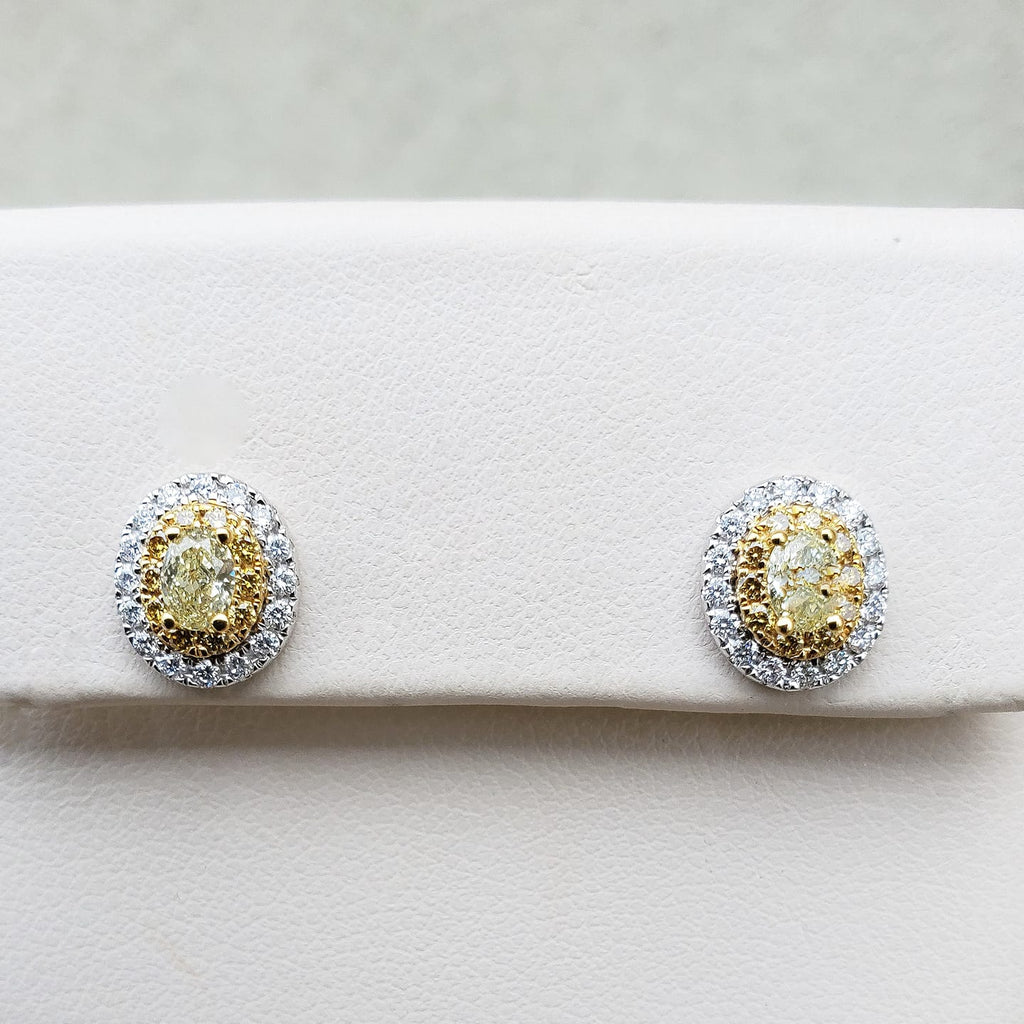 White Gold Oval Yellow Diamond Halo Earrings