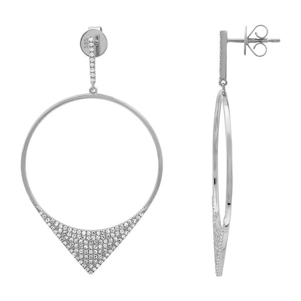 White Gold Circle Diamond Dangle Earrings
