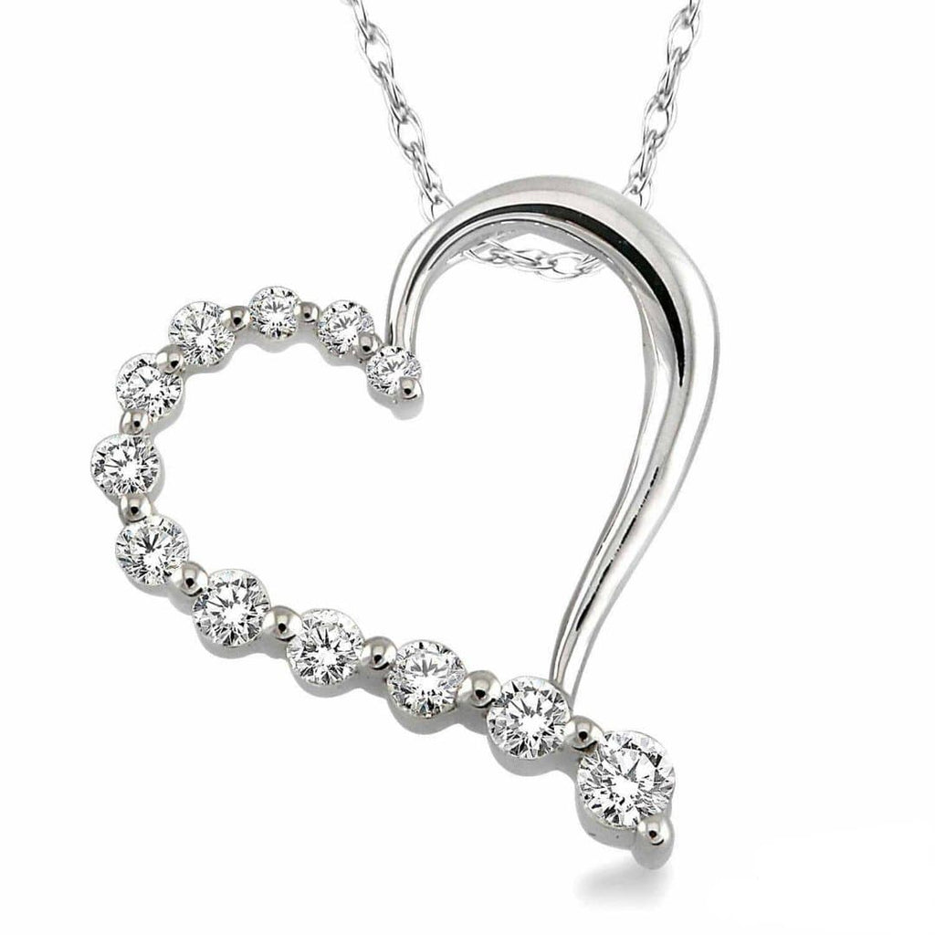 White Gold Journey Heart Necklace