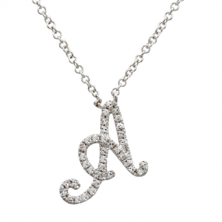 "White Gold Small Script ""A"" Initial Necklace"