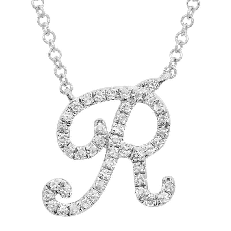 "White Gold Small Script ""R"" Initial Necklace"
