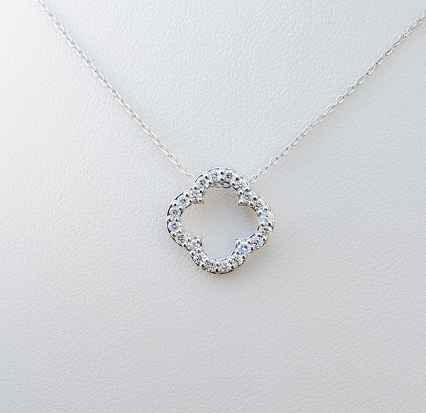 White Gold Diamond Clover Necklace