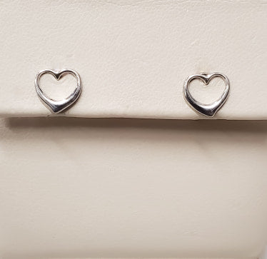 White Gold Open Heart Earrings