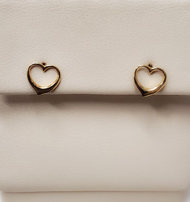 Yellow Gold Open Heart Earrings