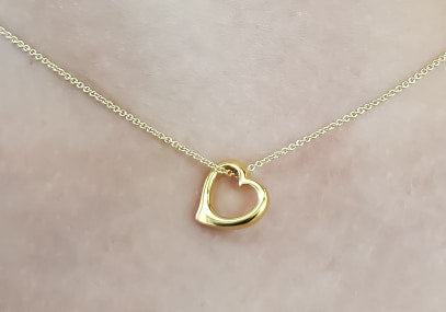 "Yellow Gold ""Floating"" Heart Necklace"