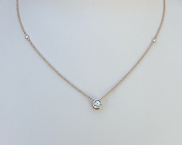 Rose Gold Floating Diamond Necklace