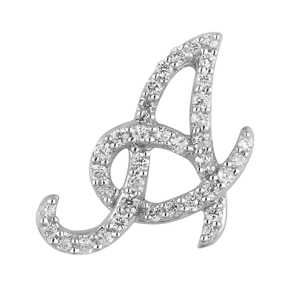 "White Gold Script Diamond ""A"" Initial Necklace"