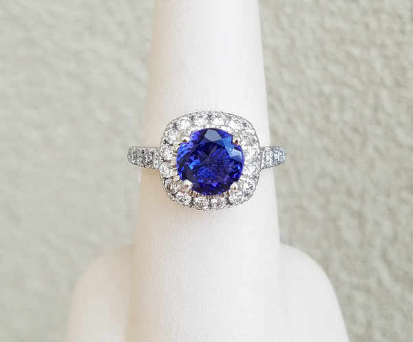 White Gold Tanzanite & Diamond Halo Ring
