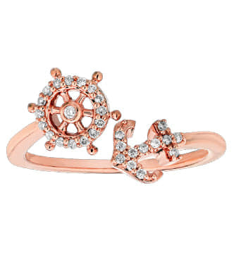 Rose Gold Ships Wheel & Anchor Ring