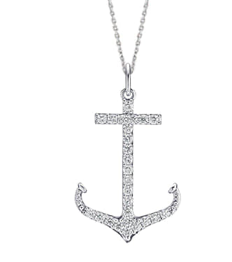 "White Gold ""Large"" Diamond Anchor Necklace"