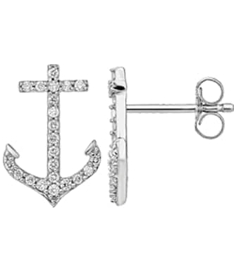 White Gold Diamond Anchor Earrings