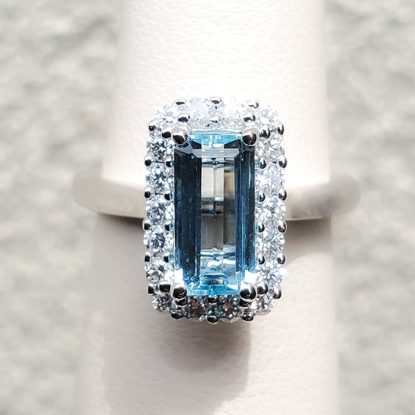 "White Gold ""Long"" Aquamarine & Diamond Halo Ring"