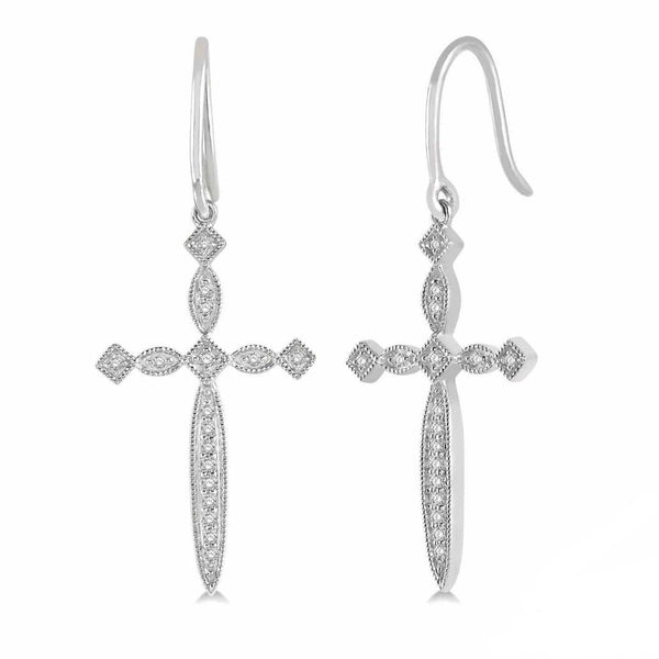 White Gold Diamond Dangle Cross Earrings
