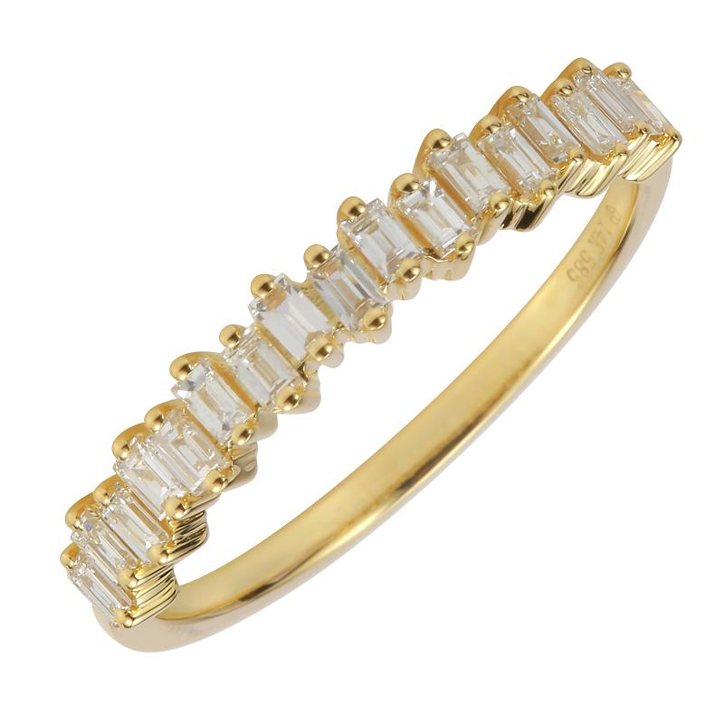 Yellow Gold Baguette Diamond Band