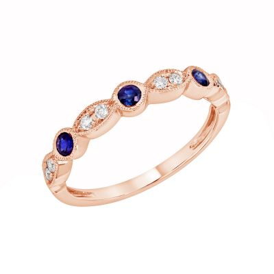 Rose Gold Blue Sapphire & Diamond Birthstone Band