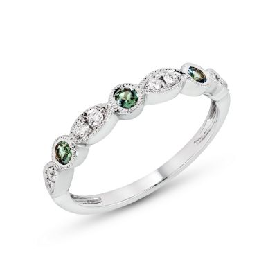 White Gold Alexandrite & Diamond Birthstone Band