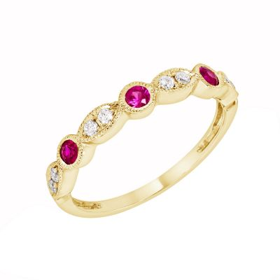 Yellow Gold Ruby & Diamond Birthstone Band