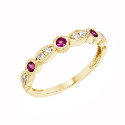 Yellow Gold Garnet & Diamond Birthstone Band