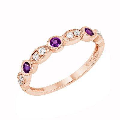Rose Gold Amethyst & Diamond Birthstone Band