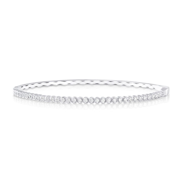White Gold Bezel Set Diamond Bangle Bracelet