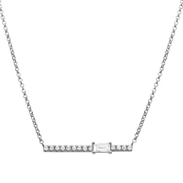 White Gold Diamond Baguette Bar Necklace