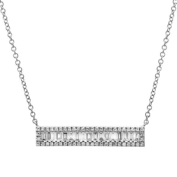 White Gold Baguette Diamond Bar Necklace