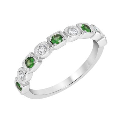 White Gold Tsavorite Garnet & Diamond Birthstone Band