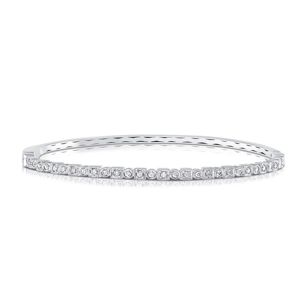 White Gold Square/Round Diamond Bangle Bracelet