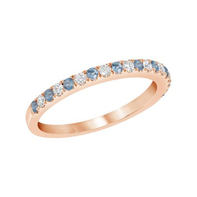 Rose Gold Blue Topaz & Diamond Birthstone Band