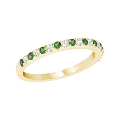 Yellow Gold Emerald & Diamond Birthstone Band