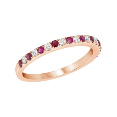 Rose Gold Ruby & Diamond Birthstone Band