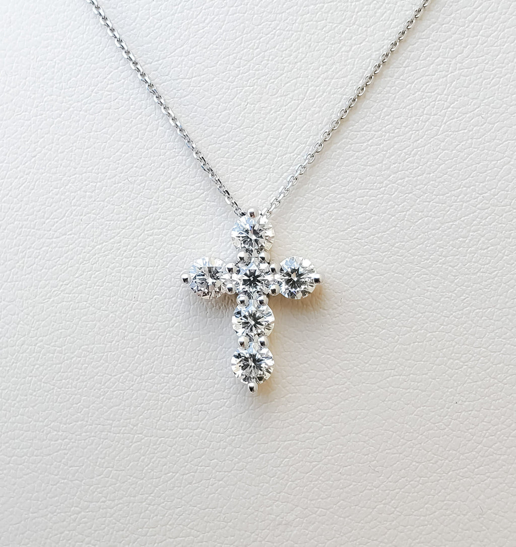 White Gold 1ct. Diamond Cross Necklace