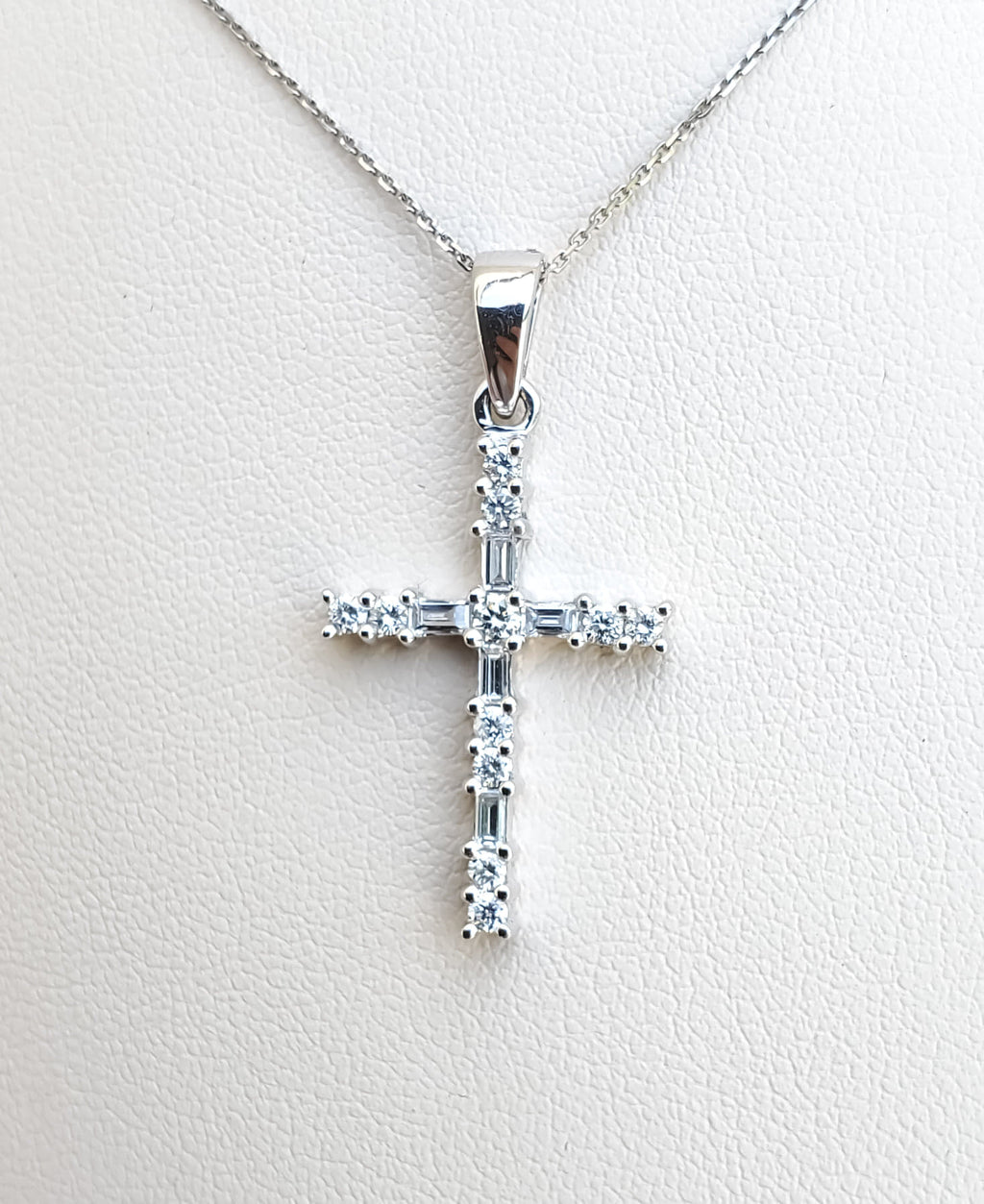 White Gold Baguette & Round Diamond Cross