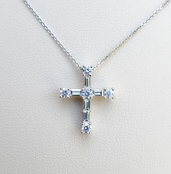 White Gold Baguette & Round Diamond Cross Necklace