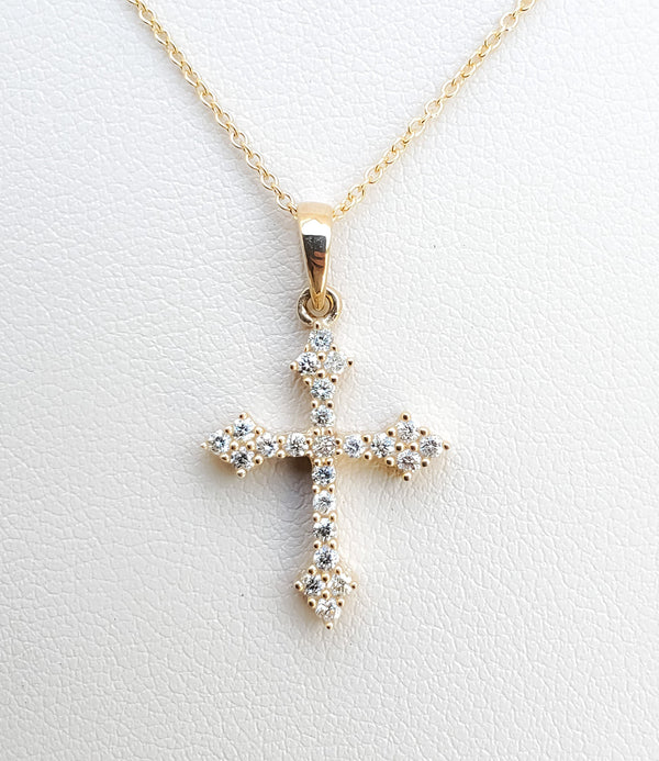 Yellow Gold Fancy Diamond Cross Necklace
