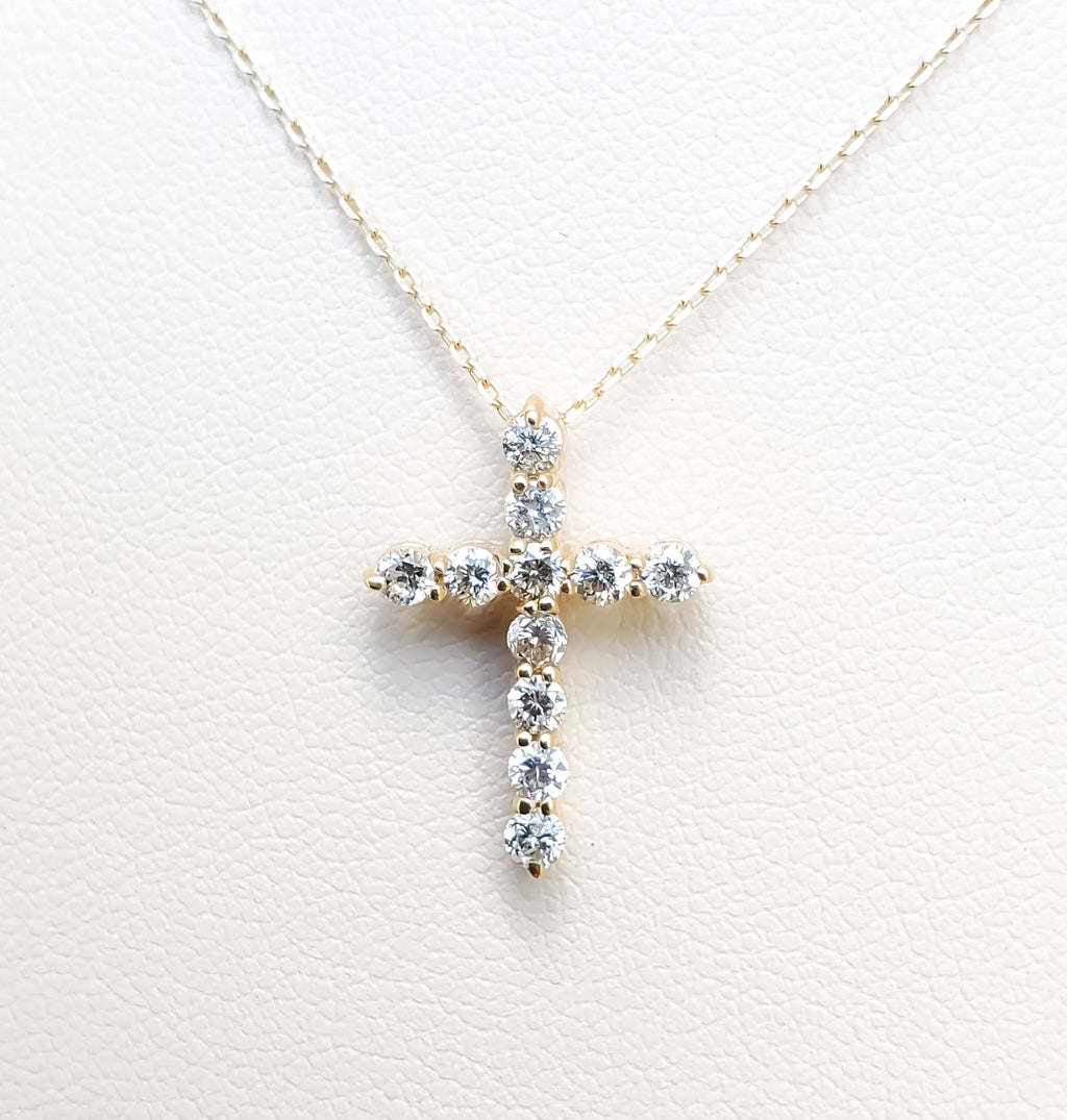 "Yellow Gold ""Small"" Diamond Cross Necklace"