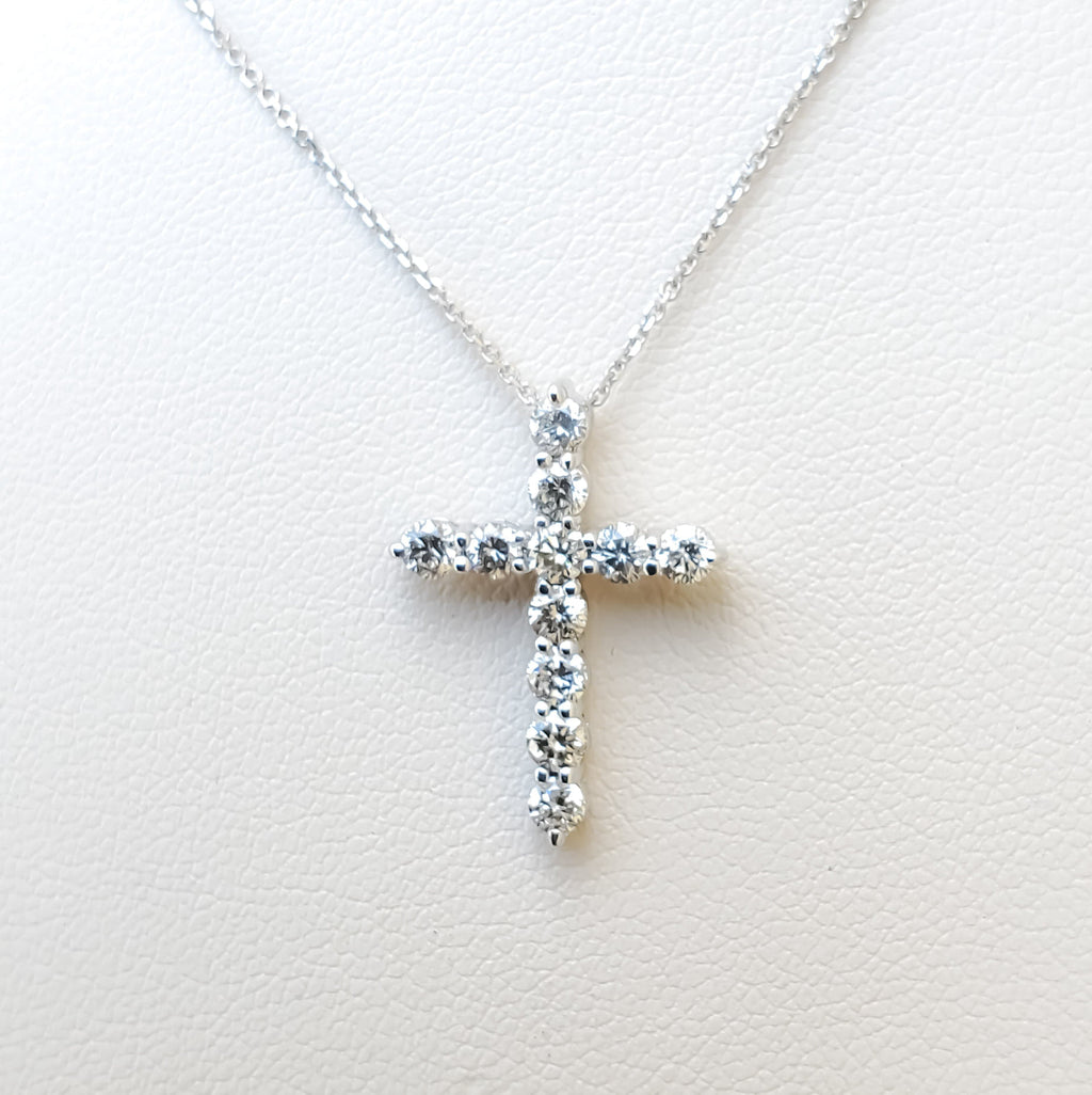 "White Gold ""Medium"" Diamond Cross Necklace"