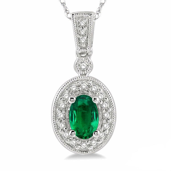 White Gold Oval Emerald & Diamond Necklace