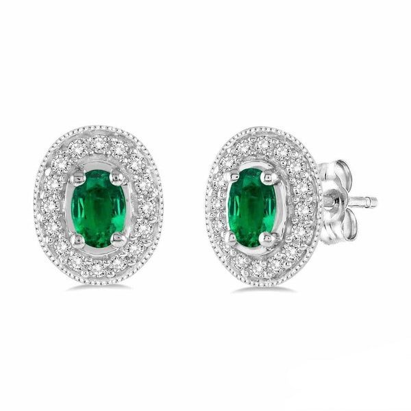 White Gold Oval Emerald & Diamond Earrings