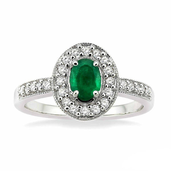 White Gold Oval Emerald & Diamond Ring