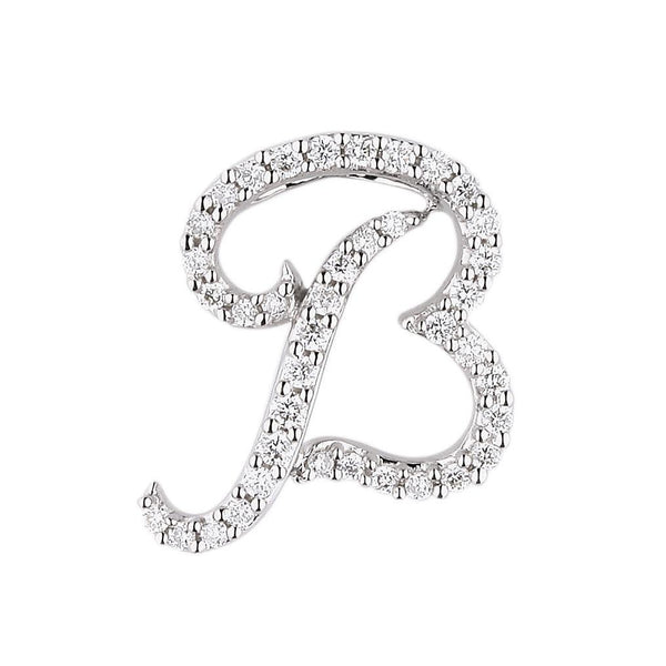"White Gold Diamond Script ""B"" Initial Necklace"