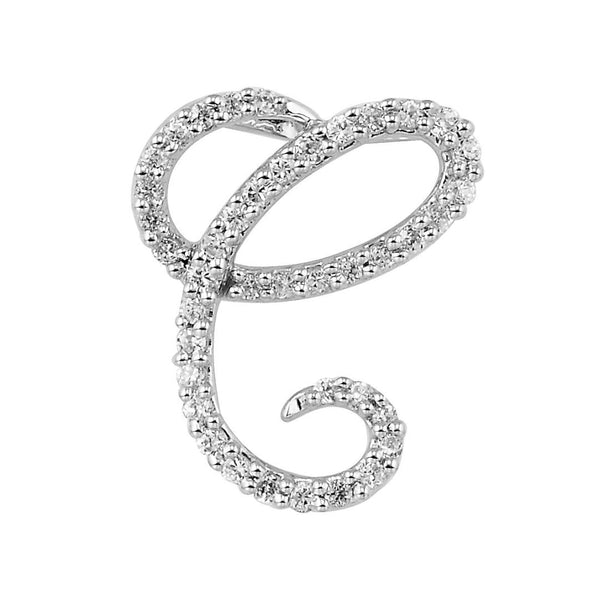 "White Gold DIamond Script ""C"" Initial Necklace"