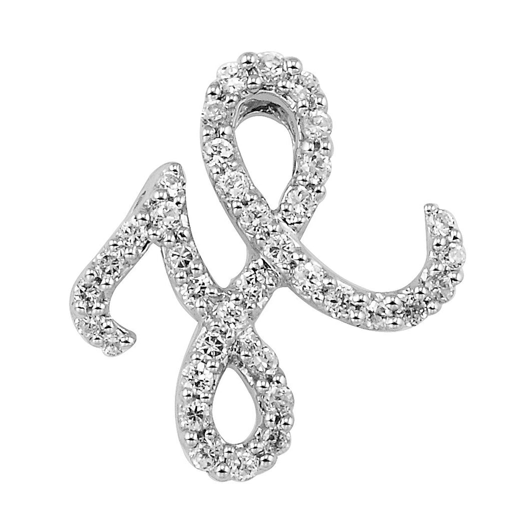 "White Gold Script Diamond ""H"" Initial Necklace"