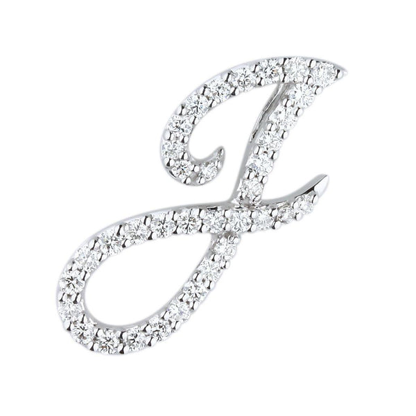 "White Gold Diamond Script ""J"" Initial Necklace"