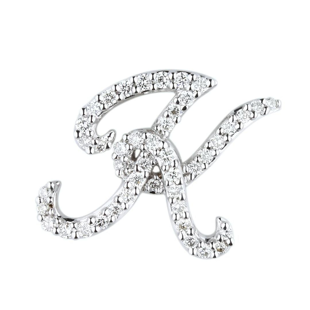 "White Gold Script Diamond ""K"" Initial Necklace"