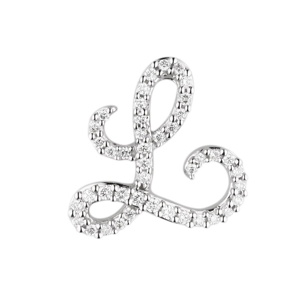 "White Gold Diamond Script ""L"" Initial Necklace"